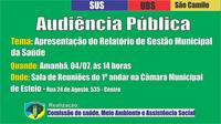 Audiência Pública vai tratar do Relatório de Gestão da Saúde amanhã