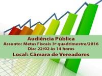 Audiência pública vai tratar do relatório das Metas Fiscais quarta-feira, 22
