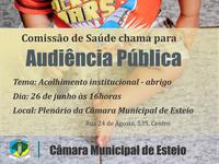 Audiência Pública vai debater projeto de convênio com Canoas para disponibilizar vagas em abrigo de Esteio segunda-feira, 26