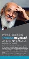 Câmara de Vereadores divulga vencedores do Prêmio Paulo Freire/2015